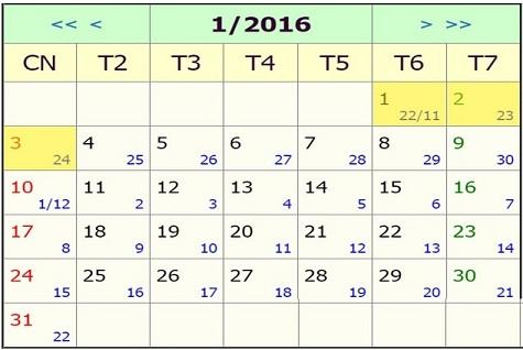 Lịch nghỉ Tết 2016