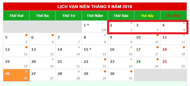 lịch nghỉ quốc khánh 2016