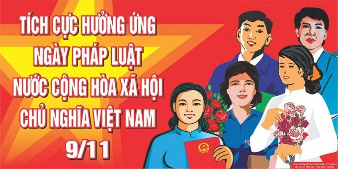 Một trong những khẩu hiệu hưởng ứng ngày Pháp luật Việt Nam năm 2016