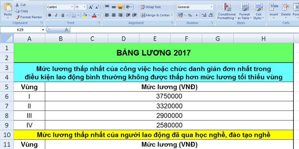 Thang lương bảng lương 2017