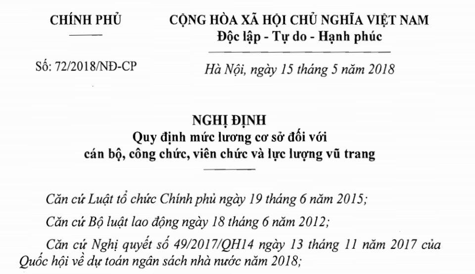 Nghị định 72/2018/NĐ-CP về tăng lương cơ sở từ 01/7/2018