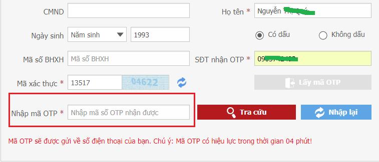 tracuu111 Tra cứu thông tin đóng BHXH với mã OTP