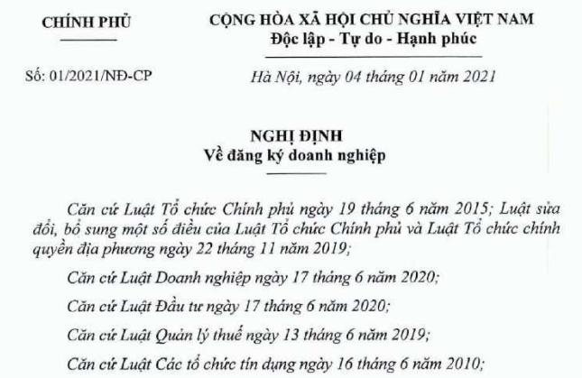 nghi dinh 01 2021 ve dang ky doanh nghiep - Thủ tục đăng ký thành lập doanh nghiệp 2021