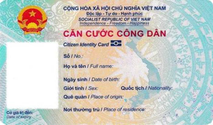 thẻ căn cước công dân gắn chíp